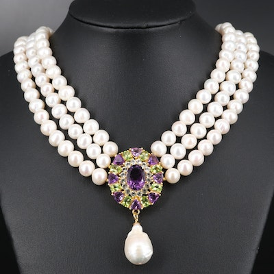 Sterling Silver Pearl, Amethyst and Peridot Triple Strand Necklace