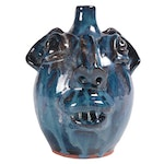M. L Owens Folk Art Ceramic Face Jug, Late 20th Century