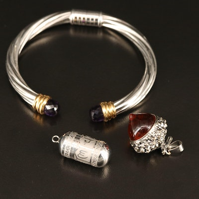 Amethyst Cuff Bracelet with Red Glass Acorn Pendant and Sanskrit Capsule Pendant