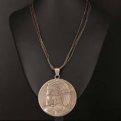 Mexican Sterling Aztec Warrior Necklace