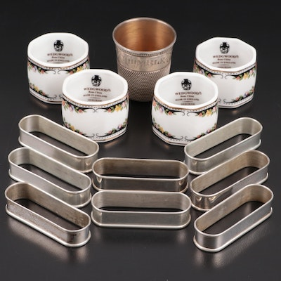 """Gorham Sterling with Wedgwood """"Osborne"""" Napkin Rings and Sterling Thimble Jigger"""