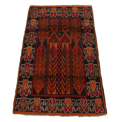 2'8 x 4'9 Hand-Knotted Afghan Baluch Prayer Rug, 2000s