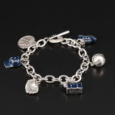 New York Yankees Sterling Enamel MLB Charm Bracelet
