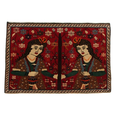 1'10 x 2'7 Hand-Knotted Persian Shiraz Qashqai Pictorial Accent Rug, 1970s