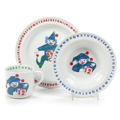 Arabia Finland Jester Alphabet Child's Bowl, Plate and Mug