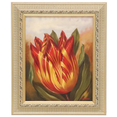 Oil Painting of Variegated Tulip, 21st Century