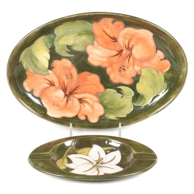 Moorcroft Olive Green Hand-Painted Floral Motif Ashtray and Dish