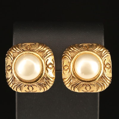 Vintage Chanel Faux Pearl Earrings