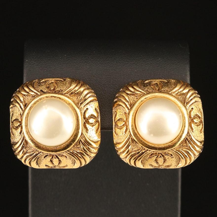 Vintage Chanel Faux Pearl Earrings