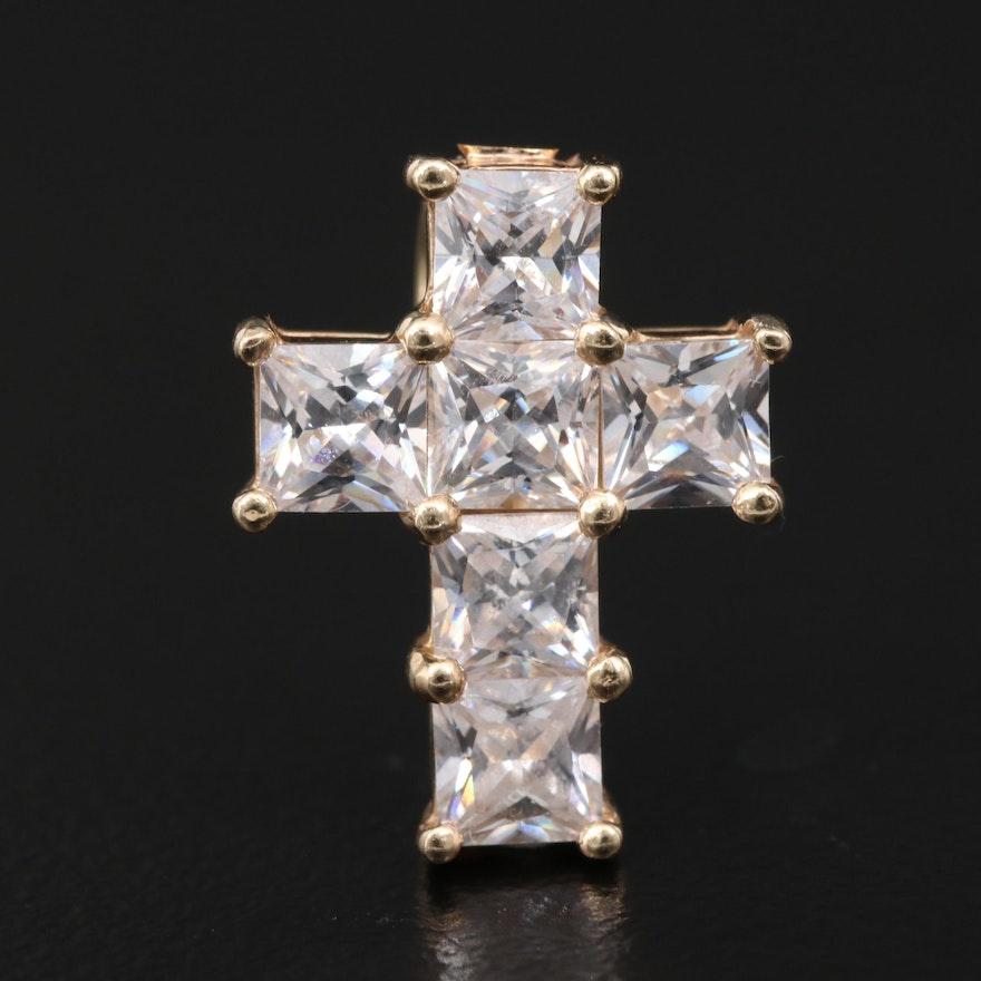 14K Cubic Zirconia Cross Pendant