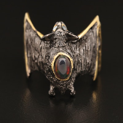 Sterling Silver Opal and Sapphire Bat Ring