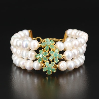 Sterling Pearl and Beryl Triple Strand Bracelet
