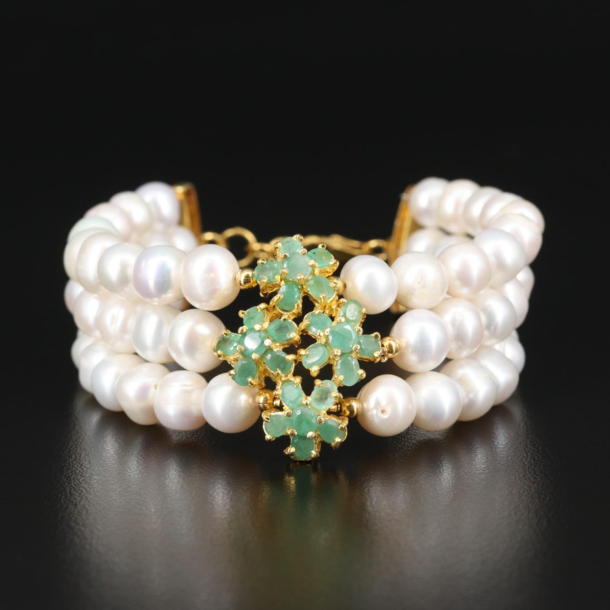 Sterling Pearl and Beryl Triple Strand Bracelet