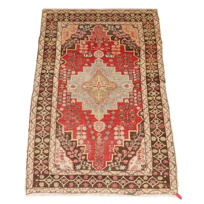 3'7 x 6'0 Hand-Knotted Turkish Village Area Rug, Mid-20th Century