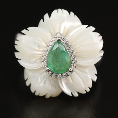Sterling Emerald and Carved Mother of Pearl Flower Ring