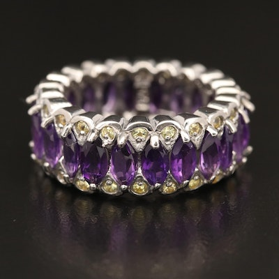 Sterling Silver Amethyst and Sapphire Eternity Band