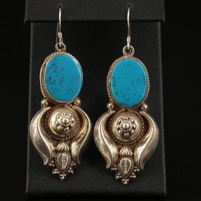 Sterling Silver Faux Turquoise Dangle Earrings