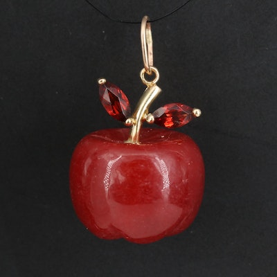 14K Carved Jadeite and Garnet Apple Pendant