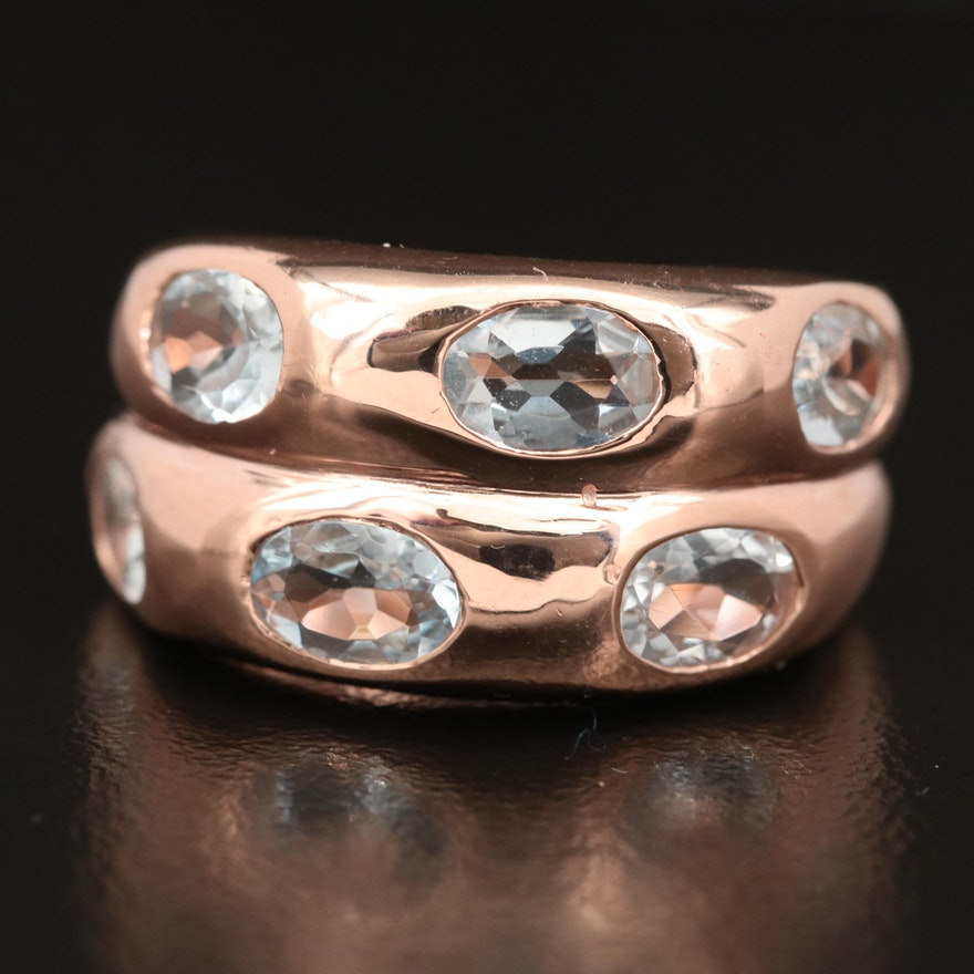 Sterling Silver Six Stone Aquamarine Ring