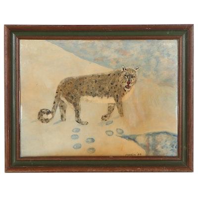 Folk Art Style Acrylic Painting of Cheetah, 1984