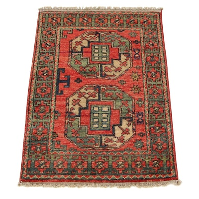 2'1 x 3'2 Hand-Knotted Afghan Turkmen Accent Rug, 2010s