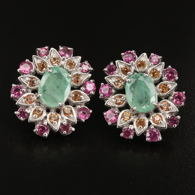 Sterling Silver Emerald, Sapphire and Garnet Earrings