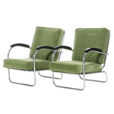 Pair of Mid Century Modern Chrome Armchairs with Velvet Cushions