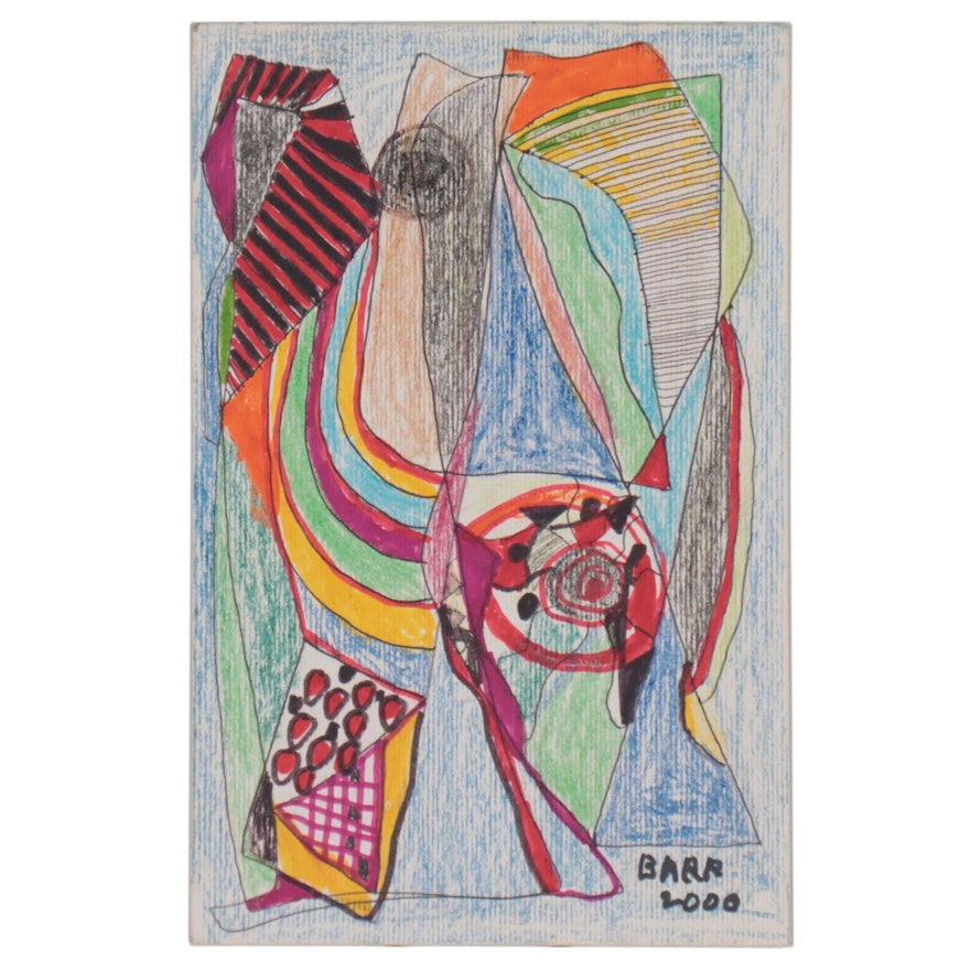 Chuck Barr Abstract Colored Pencil and Ink Drawing, 2000