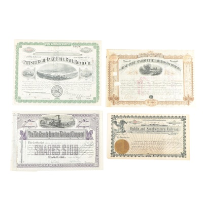 Group of Vintage Stock Certificates including The Rio Grande Junction Railway Co