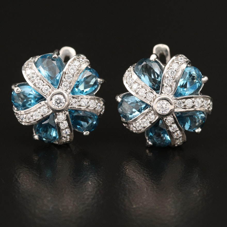 Sterling Topaz Floral Motif Earrings with Cubic Zirconia Accents