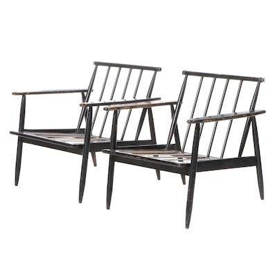 Pair of Mid Century Modern Ebonized Wood Lounge Chairs