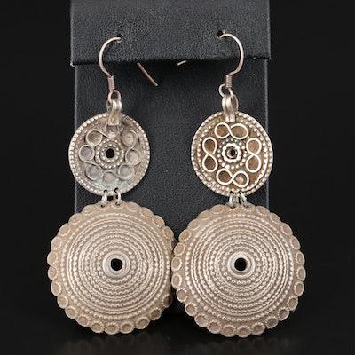 Sterling Silver Circular Drop Earrings
