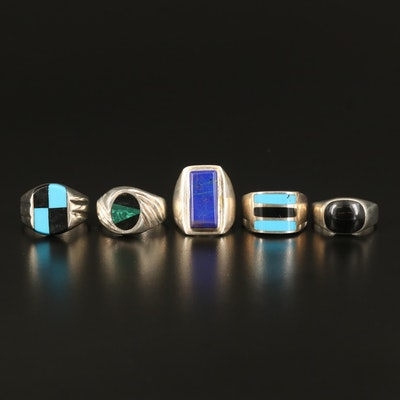 Sterling Rings with Lapis Lazuli and Faux Gemstones