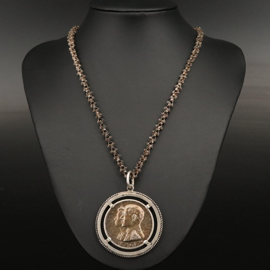 Sterling Silver Commemorative Iranian Coin Necklace