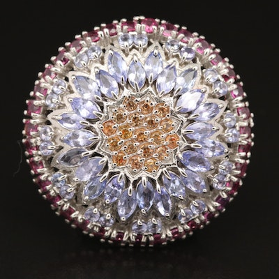 Sterling Sapphire, Tanzanite and Garnet Mandala Ring