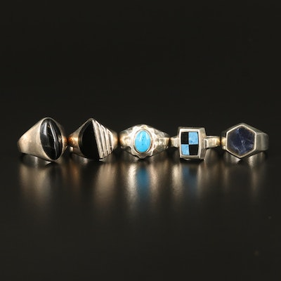 Sterling Silver Rings with Sodalite and Faux Gemstones