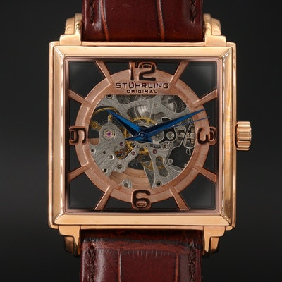 Stuhrling Original Skeleton Dial Stainless Steel Wristwatch