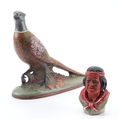 Holland Mold Ceramic Pheasant Figurine and Other Native American Bust Figurine