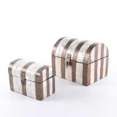 Mother-of-Pearl Inlaid Brass Chest-Shaped Trinket Boxes