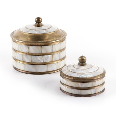 Mother-of-Pearl Inlaid Brass Lidded Boxes