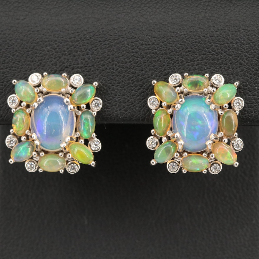 Sterling Silver Opal Earrings with Cubic Zirconia Accents