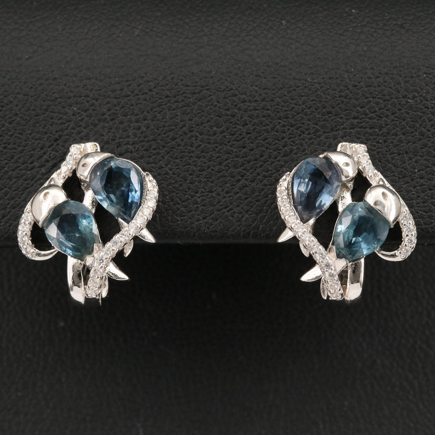 Sterling Silver Sapphire and Cubic Zirconia Earrings