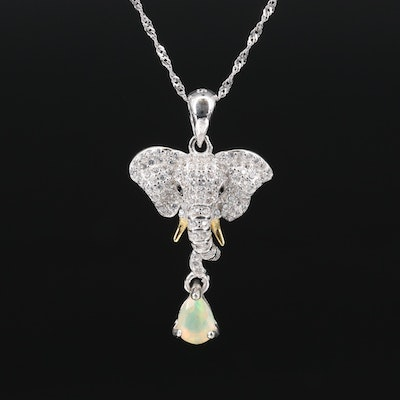 Sterling Opal, Cubic Zirconia and Spinel Elephant Head Necklace