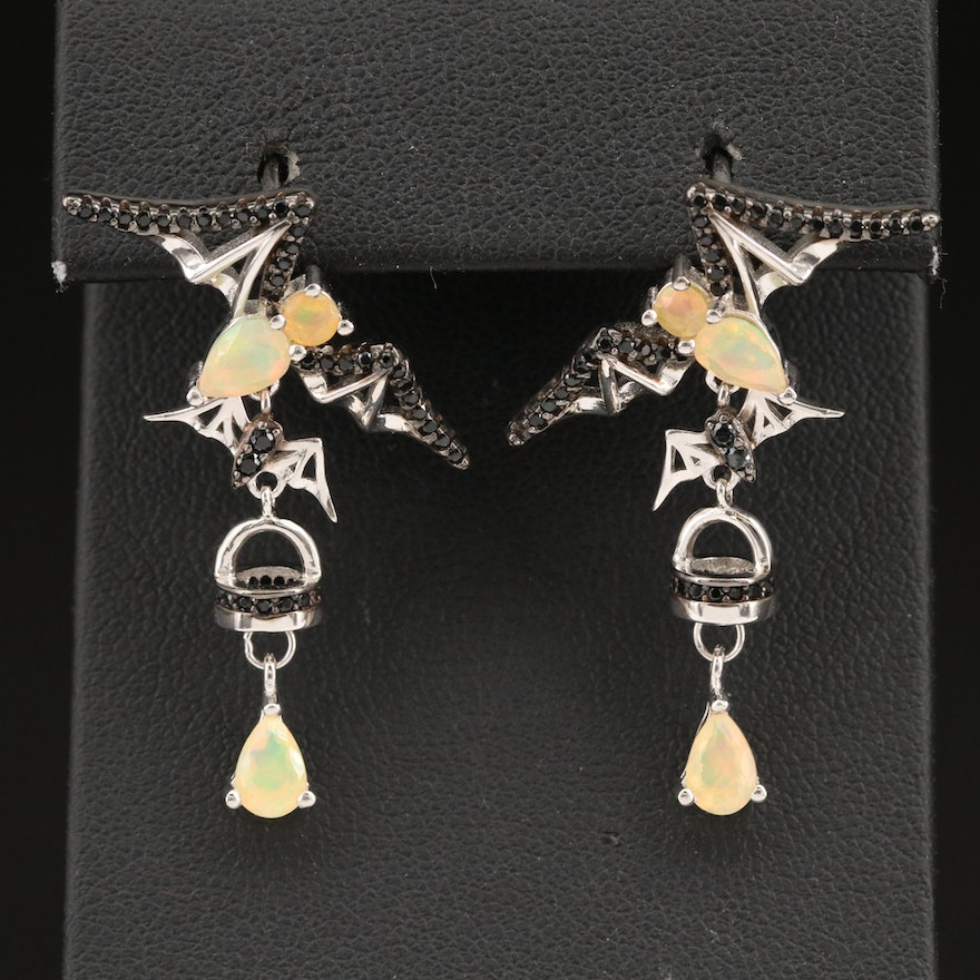 Sterling Silver Opal and Spinel Bat Earrings
