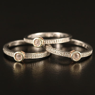 Sterling Silver Diamond and Morganite Stacking Rings
