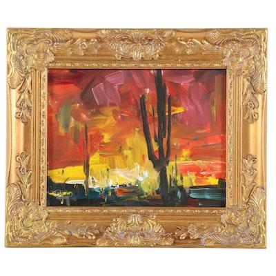 """Jose Trujillo Oil Painting """"Desert Sunset,"""" 2019"""