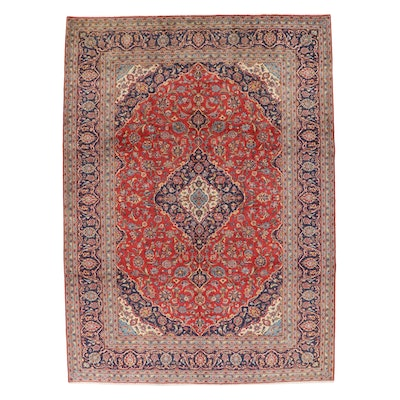 8'2 x 11'3 Hand-Knotted Persian Kashan Area Rug, 1970s
