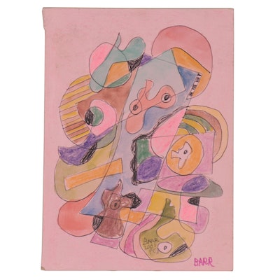 Chuck Barr Abstract Double-Sided Watercolor, Crayon, and Ink Drawing, 2001