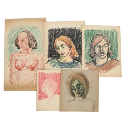 Florence Smithburn Abstract Mixed Media Drawings, Mid-20th Century