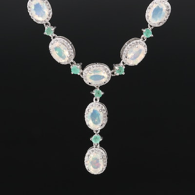 Sterling Opal, Emerald and Cubic Zirconia Necklace with Haloes